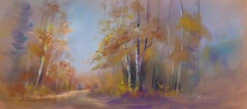 Autumn simple pastel landscape for website